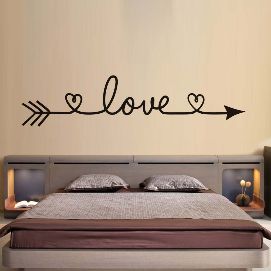 DCTOP Love Arrow Wall Stickers Romantic Bedroom Decals