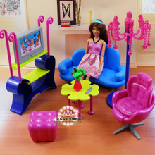 Miniature Furniture Entertainment living room sofa play set for barbie 1/6 Doll House Pretend Toys Diy assembly for Girl