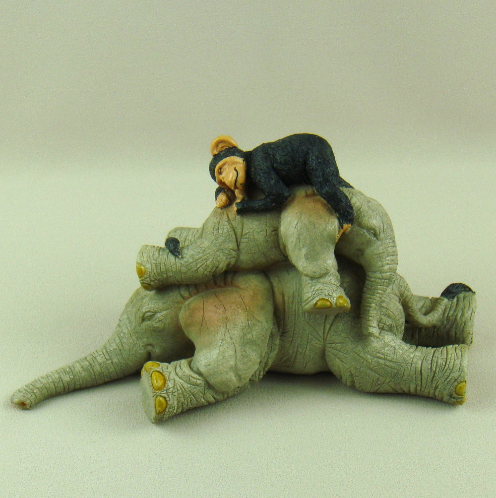 Sleeping Chimpanzee And Elephant Baby Figurine Handmade