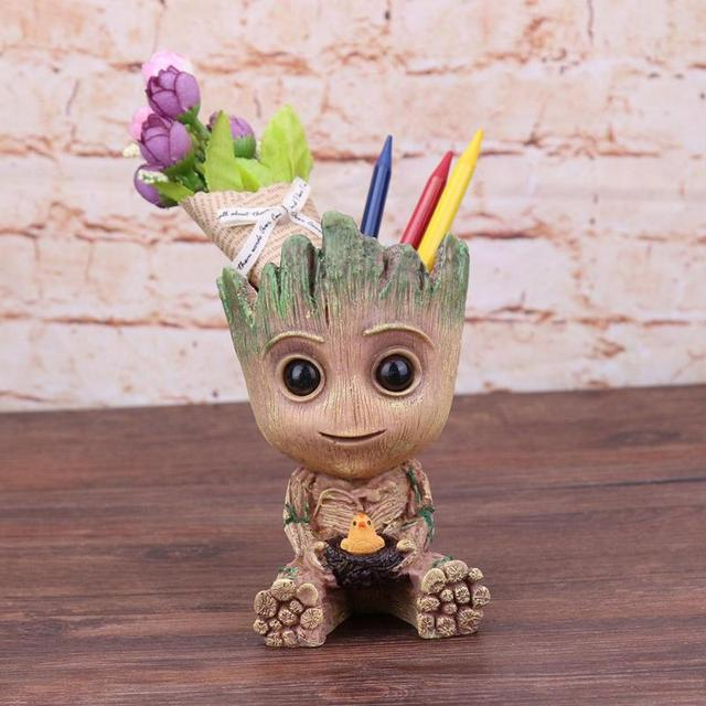 Baby Groot Flowerpot Planter Pen Holder Flower Pot Desktop PVC Action Figures Toy Home Garden Decor Flower Pot Plants Planter