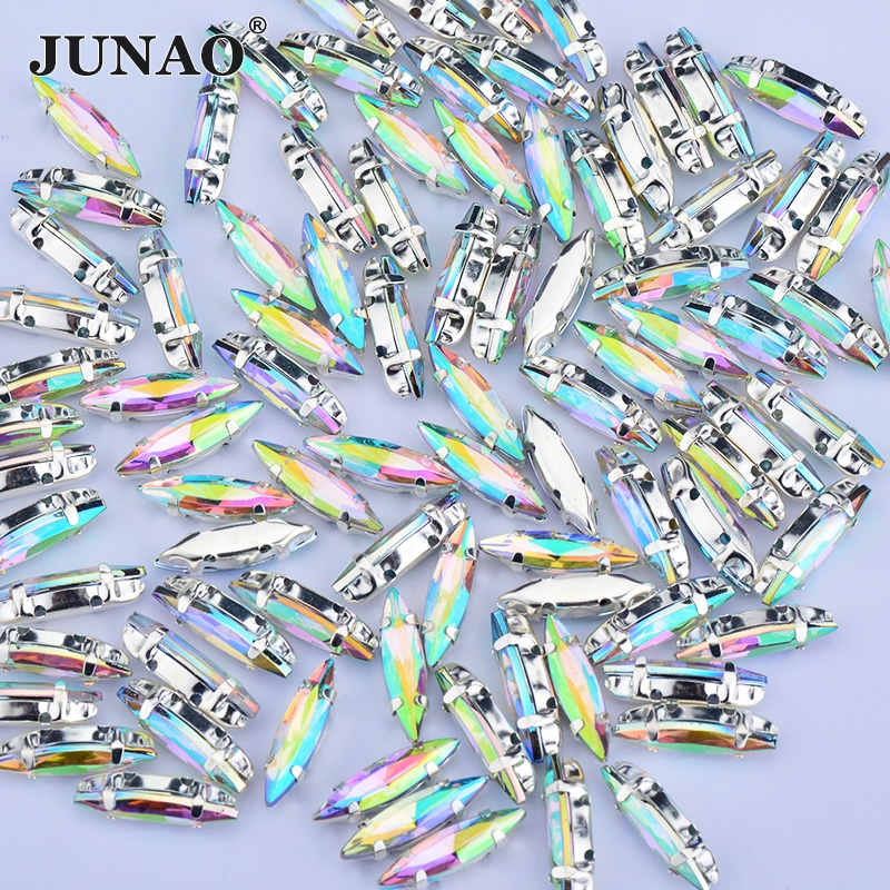 JUNAO 4x15mm Crystal AB Sew On Claw Rhinestones Acrylic Horse Eye Crystal Sewing Flatback Stones Strass Applique for Clothes