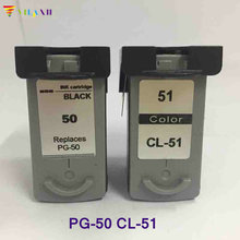 2PK Black & Color  Ink Cartridge for Canon PG50+CL51 PIXMA MP150 MP160 MP170 MP180