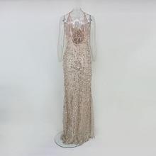 Evening Party Club Elegant Dress Women Dress Vestidos De Festa Womens Sexy Dresses  Gold Sequined Long Evening Maxi Dress