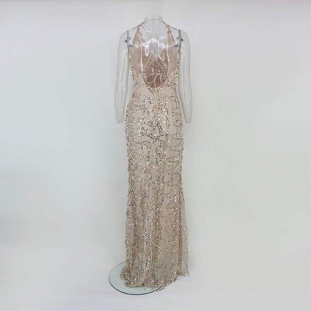 860bdae36 Evening Party Club Elegant Dress Women Dress Vestidos De Festa Womens Sexy  Dresses Gold Sequined Long