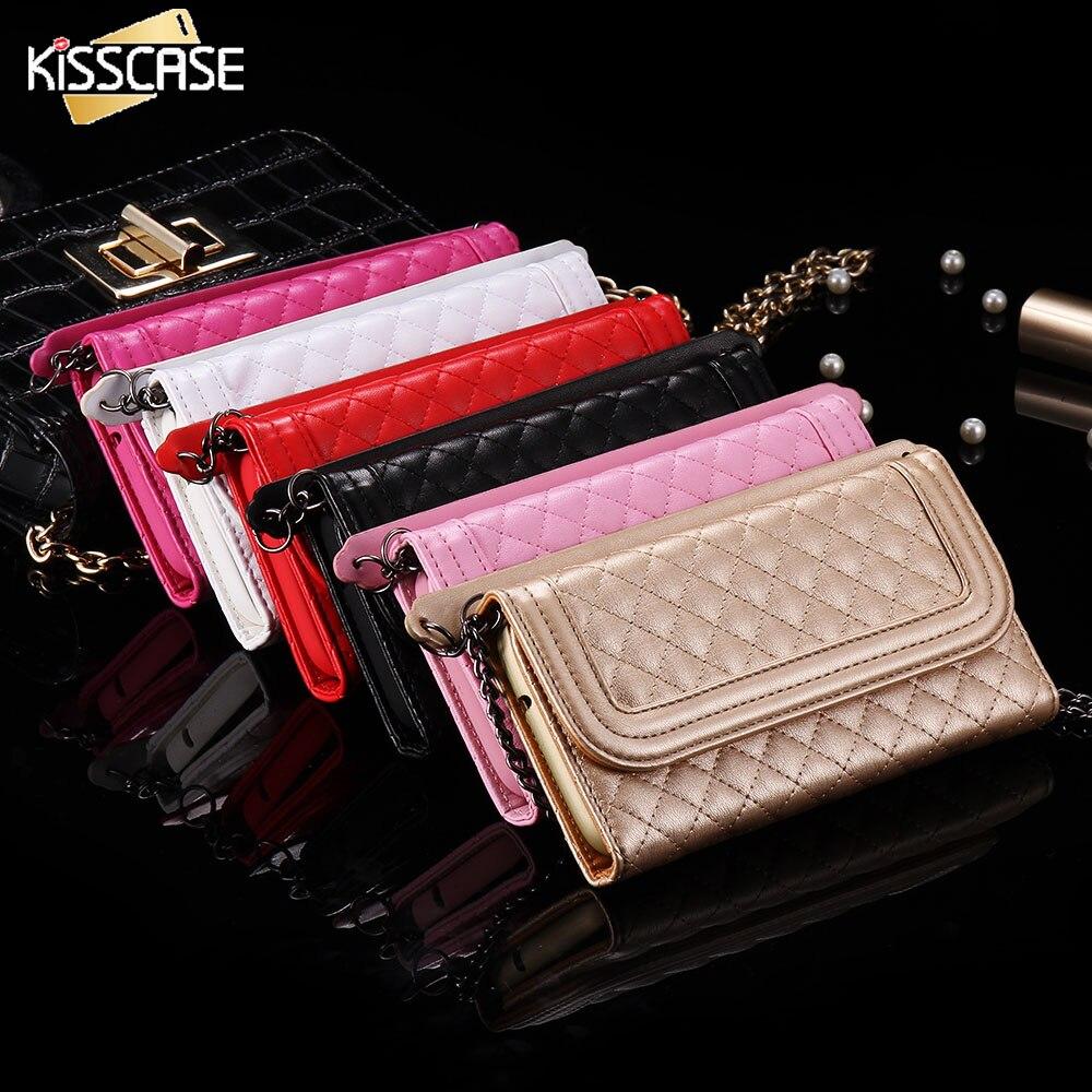 bilder für KISSCASE Mini Handtasche Telefon Fall Für Samsung Galaxy S7 S7 Rand Grid Mode Geldbörse Spiegel Abdeckung Tasche Für iPhone 6 s 6 Plus