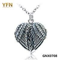 100% Real de Prata Esterlina 925 Coração Foto Medalhão Quadro Pingentes Colares de Prata Antigo Colar Da Asa do Anjo Para Mulheres GNX0708