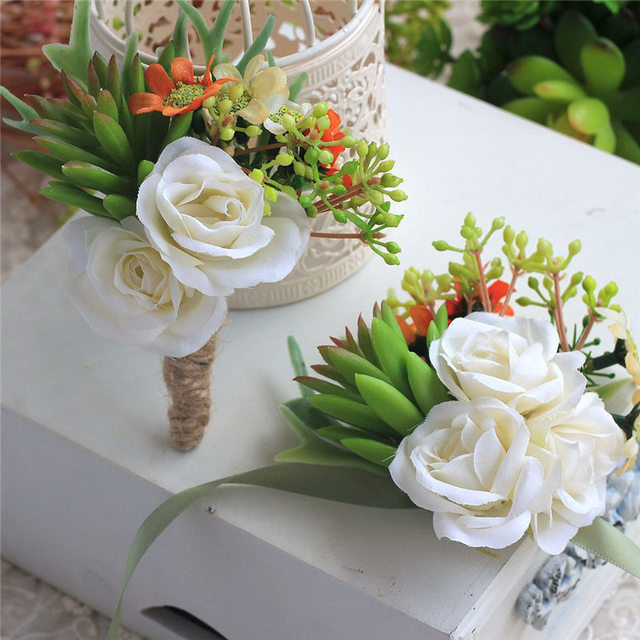 New green succulents plants white flower wedding boutonnieres new green succulents plants white flower wedding boutonnieres corsages hand made wrist flower artificial flowers prom mightylinksfo