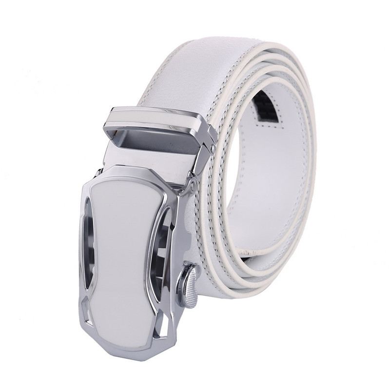 New Brand Designer   Belts   Men High Quality Genuine Leather Famous Brand Gold Silver Automatic Buckle white   Belt   Waist Strap Male