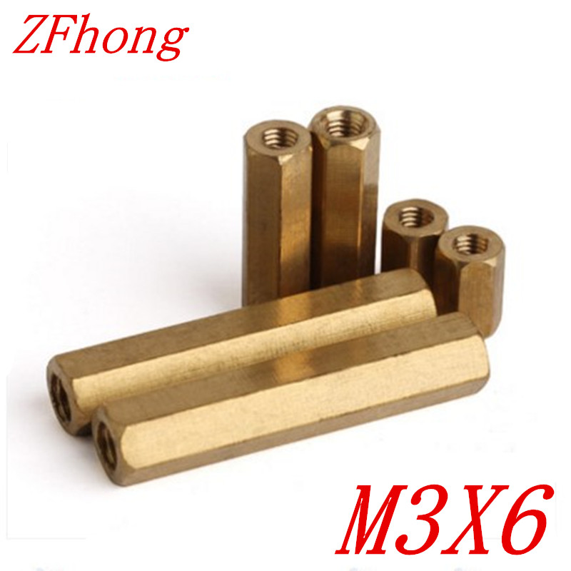 <font><b>1000pcs</b></font> <font><b>M3</b></font>*6 <font><b>m3</b></font> x 6 Brass Standoff Spacer Female Female Spacing Screws Hex Brass Threaded Spacer image