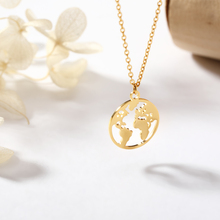 Geometric Round Necklace Vintage Origami World Map Planet Earth Pendant Necklaces for Women Circle Ethnic Simple Choker Jewelry