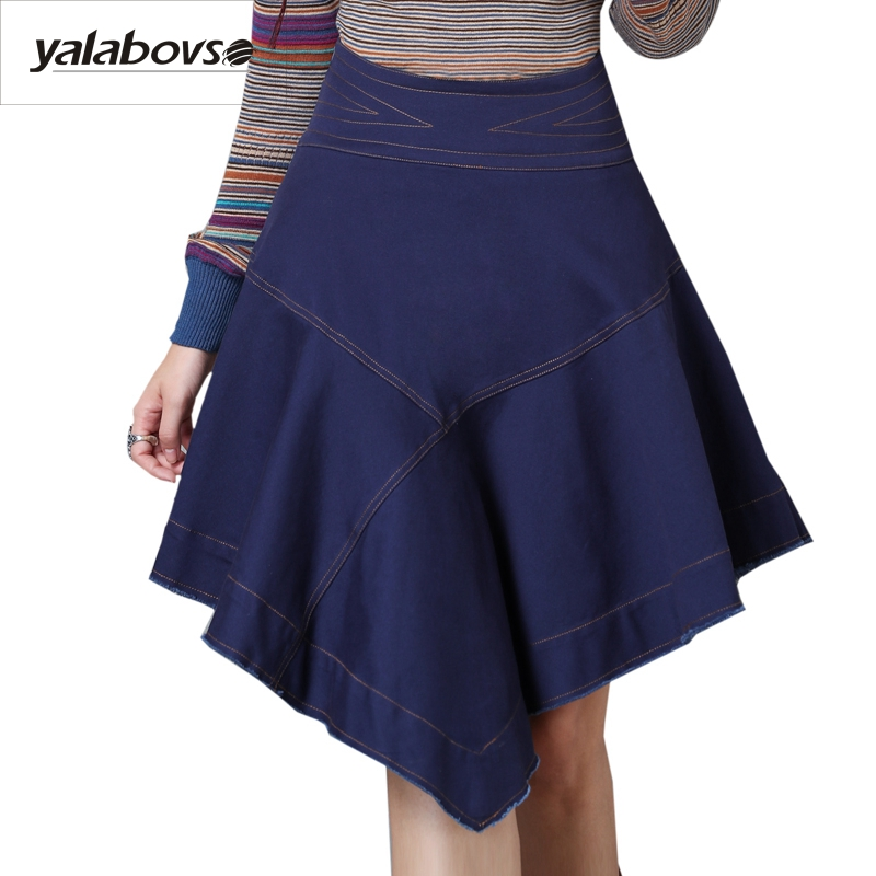 Yalabovso 2017 New Arrivals Autumn Retro Irregular Design Denim Cotton Vintage Fold A word Skirt for woman A50-X2215 z20