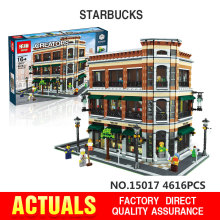 2016 New LEPIN 15017 4616Pcs Creator Starbucks Bookstore Cafe Model Building Kits Minifigure Blocks Bricks Legeo Toys Gift