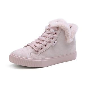 Image 2 - Fur Ball Mid Calf Boots Female Fashion Boots Warm Fur Women Snow Boots Flock Winter Shoes Non Slip Snow Casual Shoe