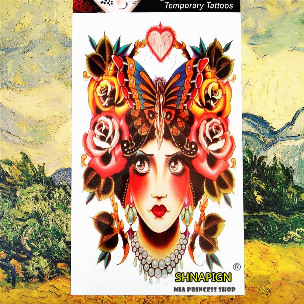 SHNAPIGN Sexy butterfly lady  Temporary Tattoo Body Art, 12*20cm Flash Tattoo Stickers, Waterproof Fake Henna Tatto Wall Sticker