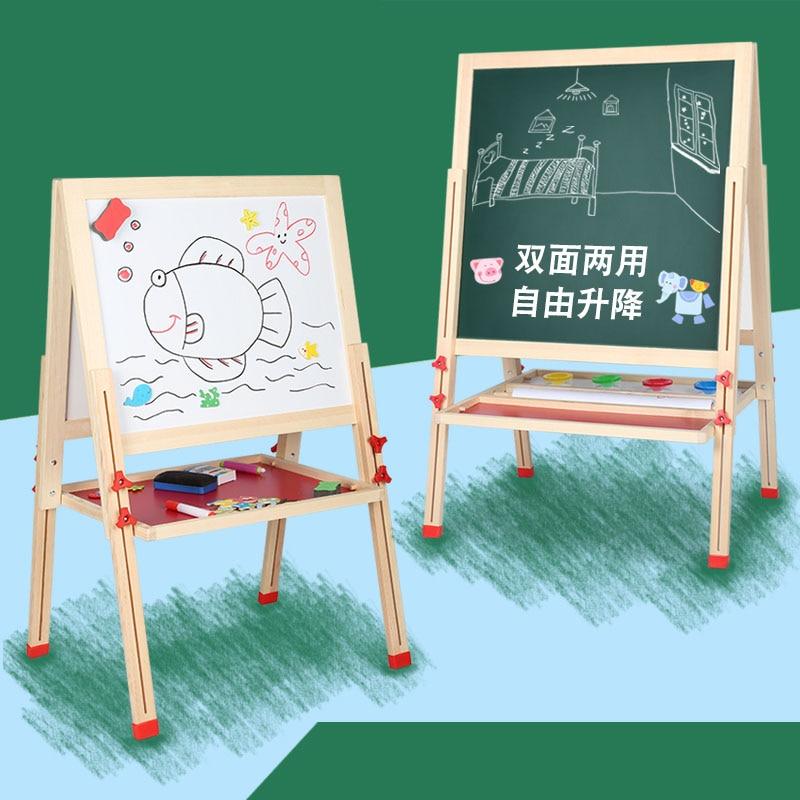 Children drawing board double sided magnetic small blackboard home teaching bracket Baby drawing board graffiti WordPad