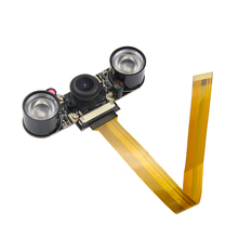 Малина Pi zero широкоугольная камера Fisheye Ночь Версия 5 Мп 1080 P камера + 2 ИК свет для RPI Raspberry Pi zero w камеры