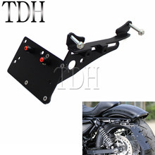 Support de plaque d'immatriculation à montage latéral noir   Barterie arrière avec lumières de type Harley Sportster XL 883 1200 48 72 2004-2017