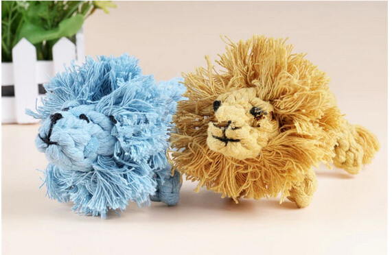 handmade braided 1 piece funny lion pattern Dog cotton rope toys Dogs play bite toys pet chew rope toys harmless lion style toys