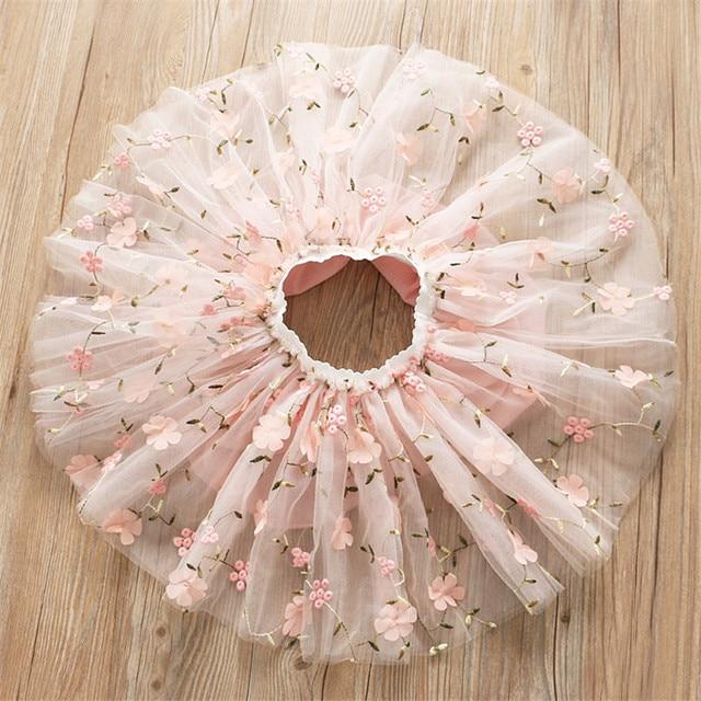 Flower Embroidery Kids skirts for Girls Pettiskirt Children Mesh Skirt Princess Baby tutu skirts Spring and summer