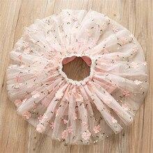 Jupes princesse tutu, broderie de fleurs, pour filles, en maille, printemps et été