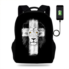 Jesus Christ Christian Cross Lion Design Rucksack Daypack School Bag Student Mens Backpack Casual Laptop Backpack USB Port