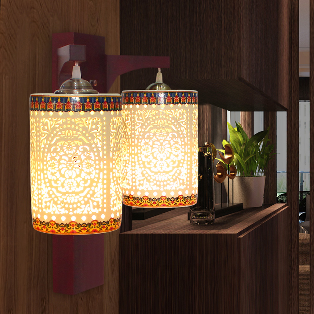 10W double wall lamp Modern Ceramic Wall Sconce lights home indoor lighting bamboo E27 Bulbs AC220V lamps for home