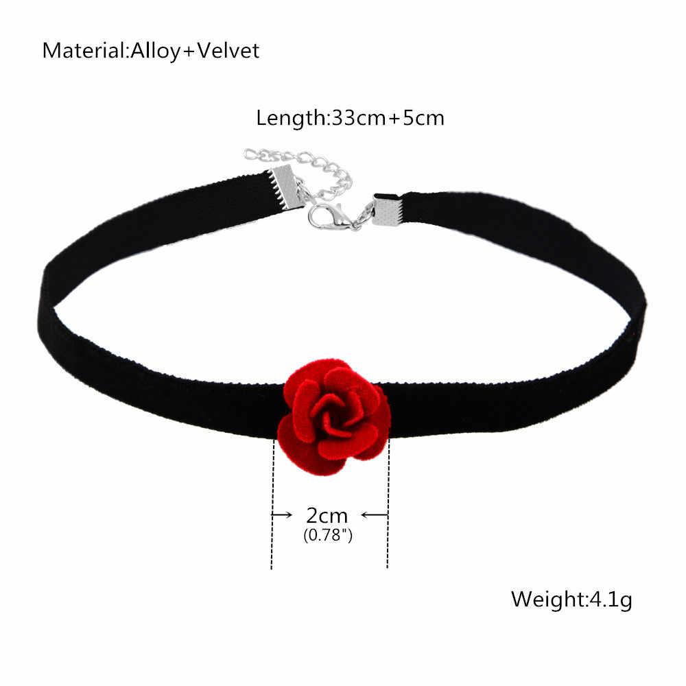 GEREIT spersonalizowany Punk Style czarna wstążka aksamitny choker naszyjnik Handmade miękki gotycki krótki naszyjnik czerwony kwiat collier Femme