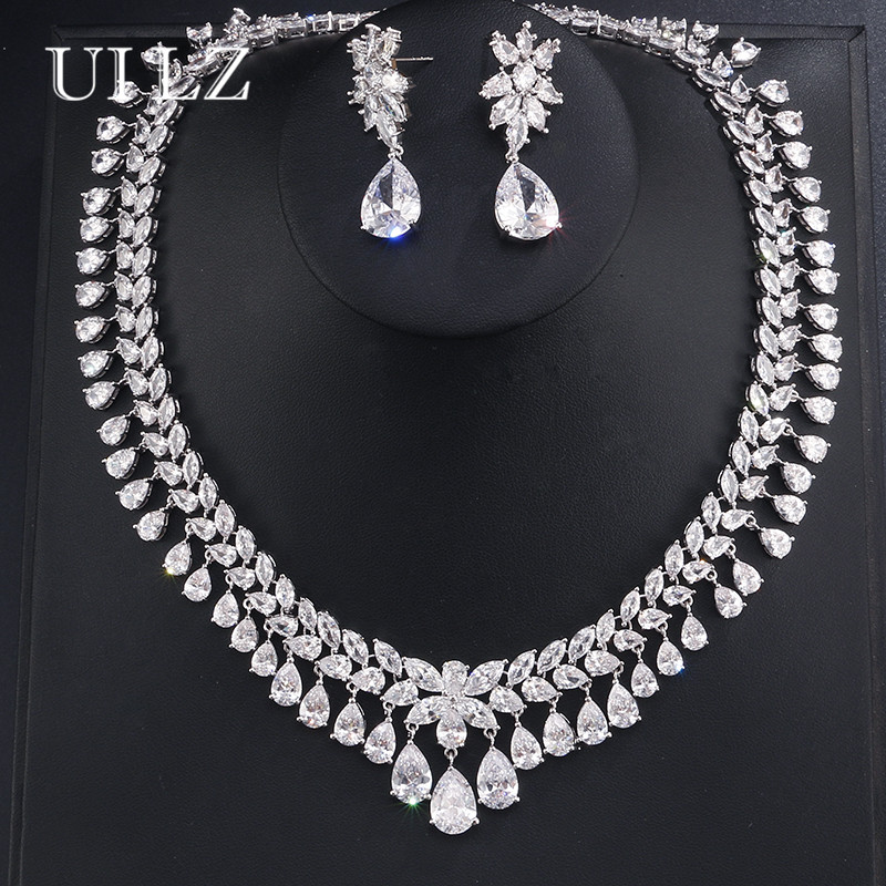 UILZ Fashion Luxury Design Sliver Color Water Drop Shape Cubic Zircon Earring Necklace Wedding Jewelry Set Women Elegant JMSP110 uilz luxury flower shape clear cubic zircon necklace earrings bracelet ring jewelry set for women wedding us225