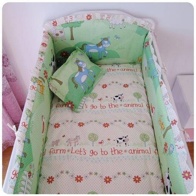 Promotion! 6PCS Crib Cot Bedding Set For Children's Bed Crib Set Baby Bedding (bumpers+sheet+pillow cover) promotion 6pcs cot bedding set for girls boys baby crib bedding set bumpers sheet pillow cover