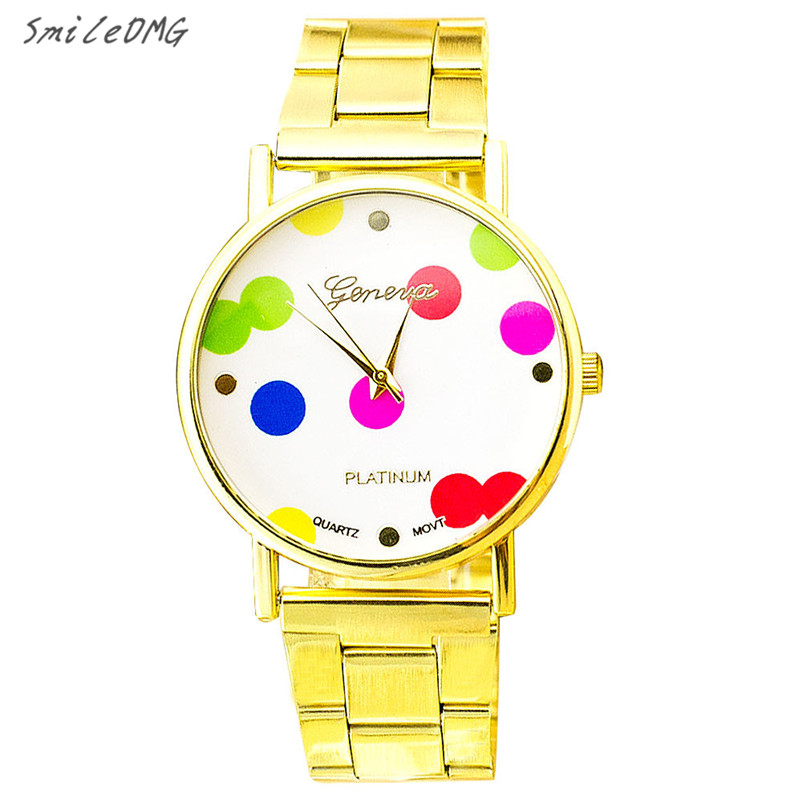 SmileOMG New Fashion Geneva Stainless Steel Women Watch Quartz Dot Wrist Watch Christmas Gift ,Sep 19
