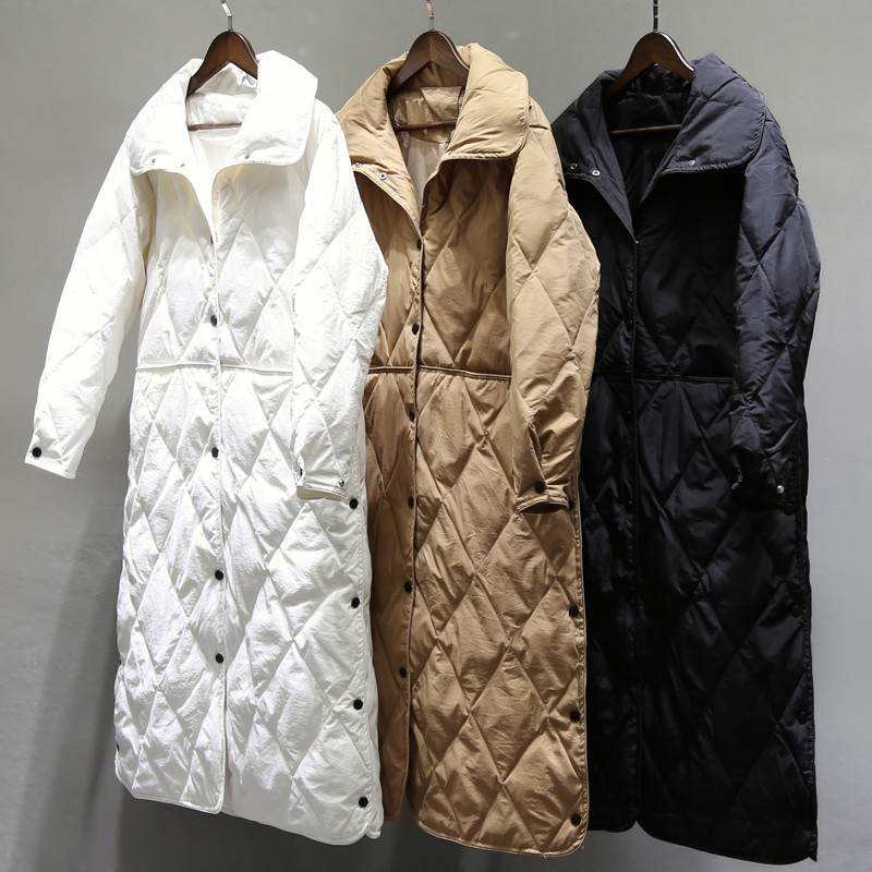 Sanishroly Autumn Winter Women Long   Coat   White Duck   Down   Jacket Female Ultra Light   Down     Coat   Parka Outerwear Tops Plus Size S417