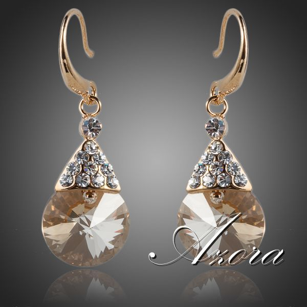 AZORA Gold Color Gold Round Stellux Austrian Crystal Drop Earrings TE0057
