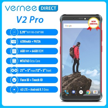 "Global Version Vernee V2 Pro Waterproof 5.99"" Mobile Rugged Cellphone 6+64GB Android 8.1 NFC Smartphone 6200mAh Quick Charge"