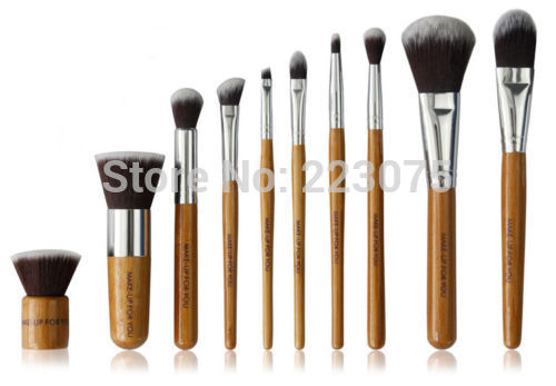 10pcs New Makeup Brushes Bamboo Handle Brush Set Blush Eye Shadow Foundation Brush Kit 2017 pro 1 pcs bamboo handle eye brushes makeup flat brushes cosmetics professional makeup brush set hairbrush ap253