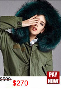 Factory wholesale price Women's Vintage Retro Fur Hooded Military Parka Jacket Coat with pink lined and collar fur mr 18