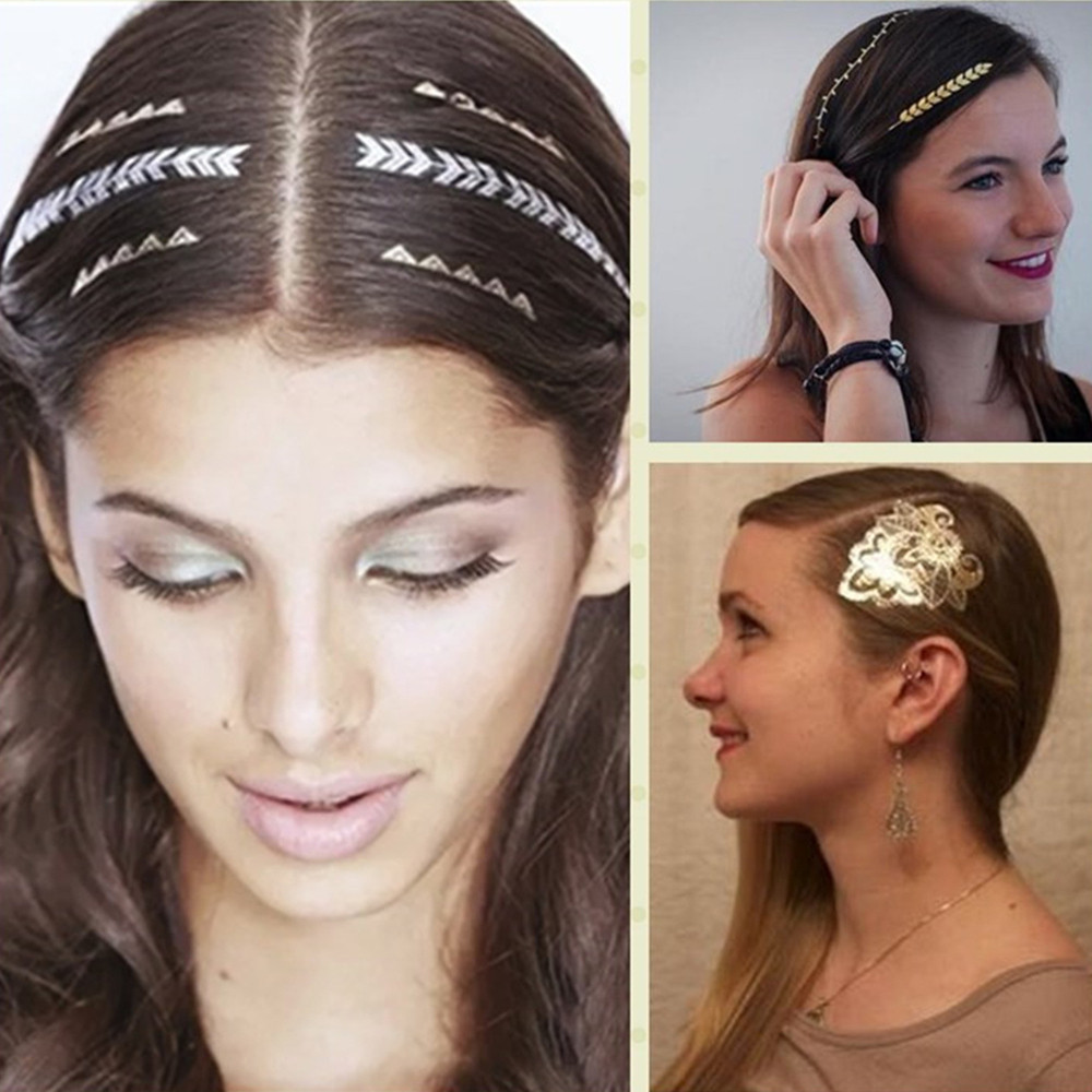 Metallic Hair Temporary Tattoos Gold Silver