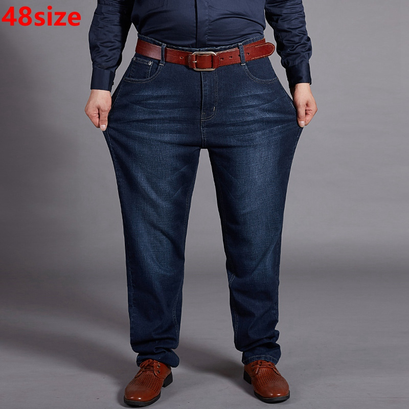 Summer And Autumn  Male Big Size Man Plus Fertilizer XL Wear High Waist Elastic Big Long Pants 48 Yards Large