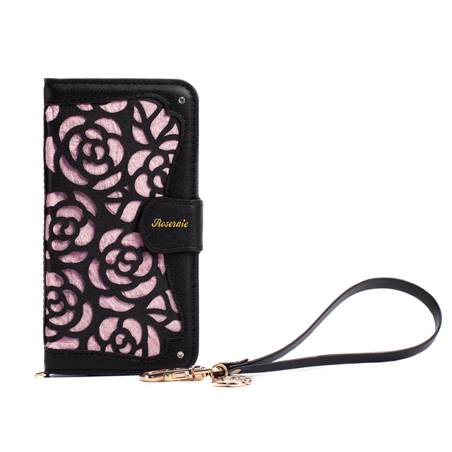 bf67a19c4 For iPhone Xs X 7 8 6 6s Case Paste Phone Cases 3D Hollowed Rose Floral  Jewelled Flip Leather Wallet Cover Cards Holder Coque-in Wallet Cases from  ...