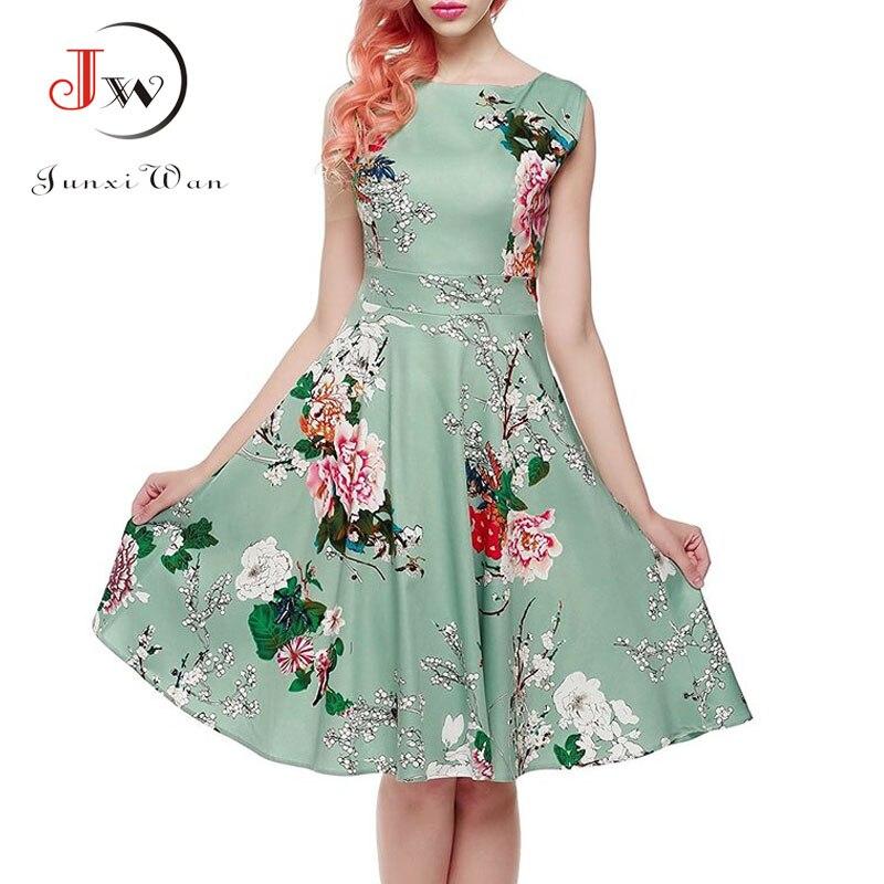 Floral Print Women Summer Dress Hepburn 50s 60s Retro Swing Vintage Dress A-Line Party Dresses With Belt jurken Plus Size 5