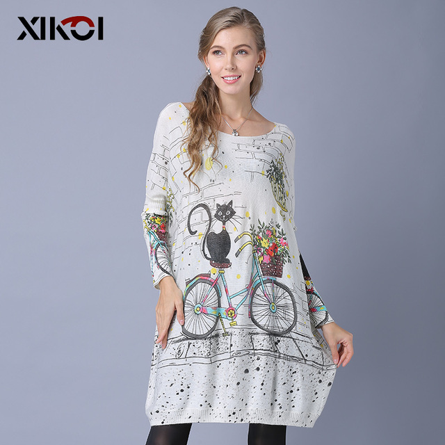 XIKOI Woman Oversize Sweater Winter Long  Cat Bicycle Print Casual Coat Batwing Sleeve Bicycle Cat  Print Pullovers Clothing 1