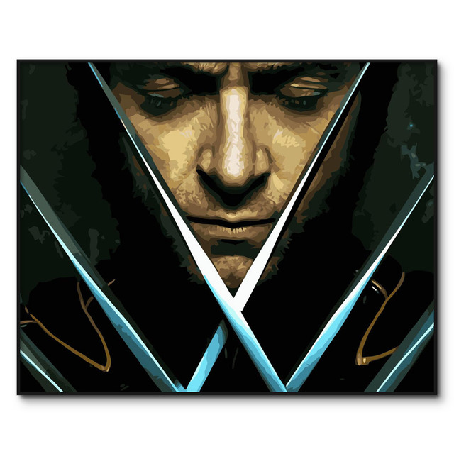 X-Men Wolverine DIY Oil Painting By Numbers on Canvas Logan Howlett Framed modern paintings DIY Paint by Numbers Kits