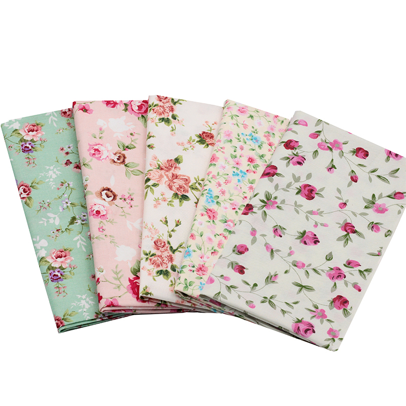 2017 5pcs Elegant Rose Cotton Fabric Printed Series Bundles Comfortable DIY Quilting Patchwork And Crafts Cloth 20x25cm