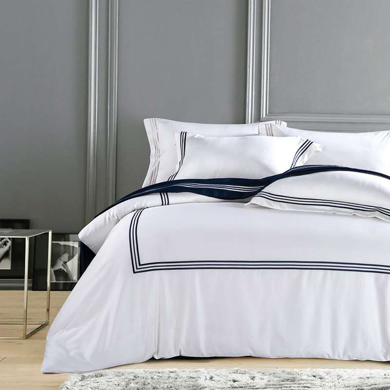 Silky Egyptian Cotton Hotel White Bedding set Chinese Embroidery Duvet Cover set Queen King size Bed sheet Bed cover set Pillow