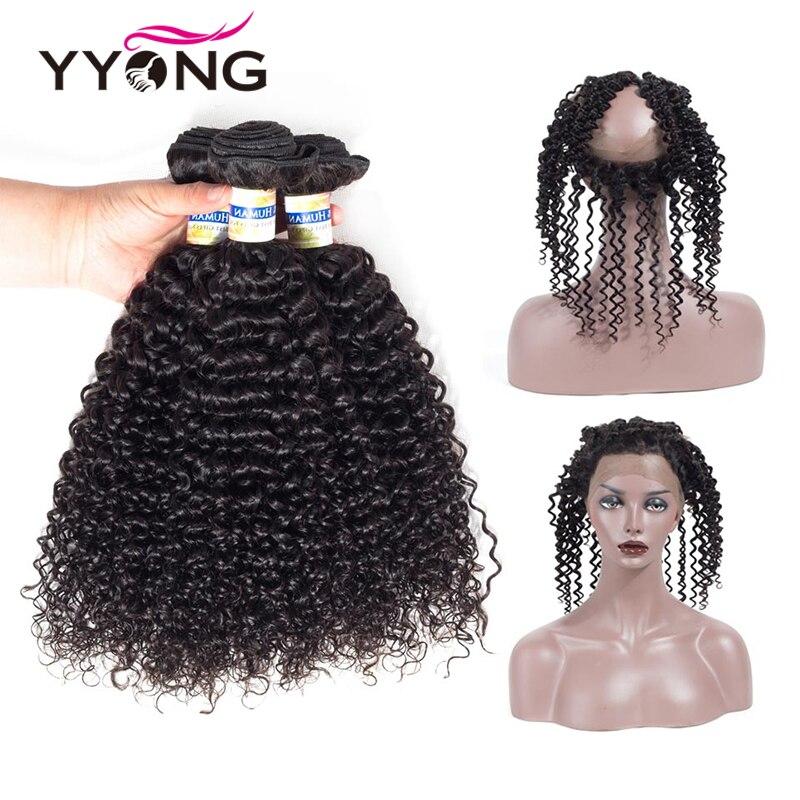 YYong Brasileño Rizado Pelo Rizado 360 Frontal Del Cordón Con - Cabello humano (negro)