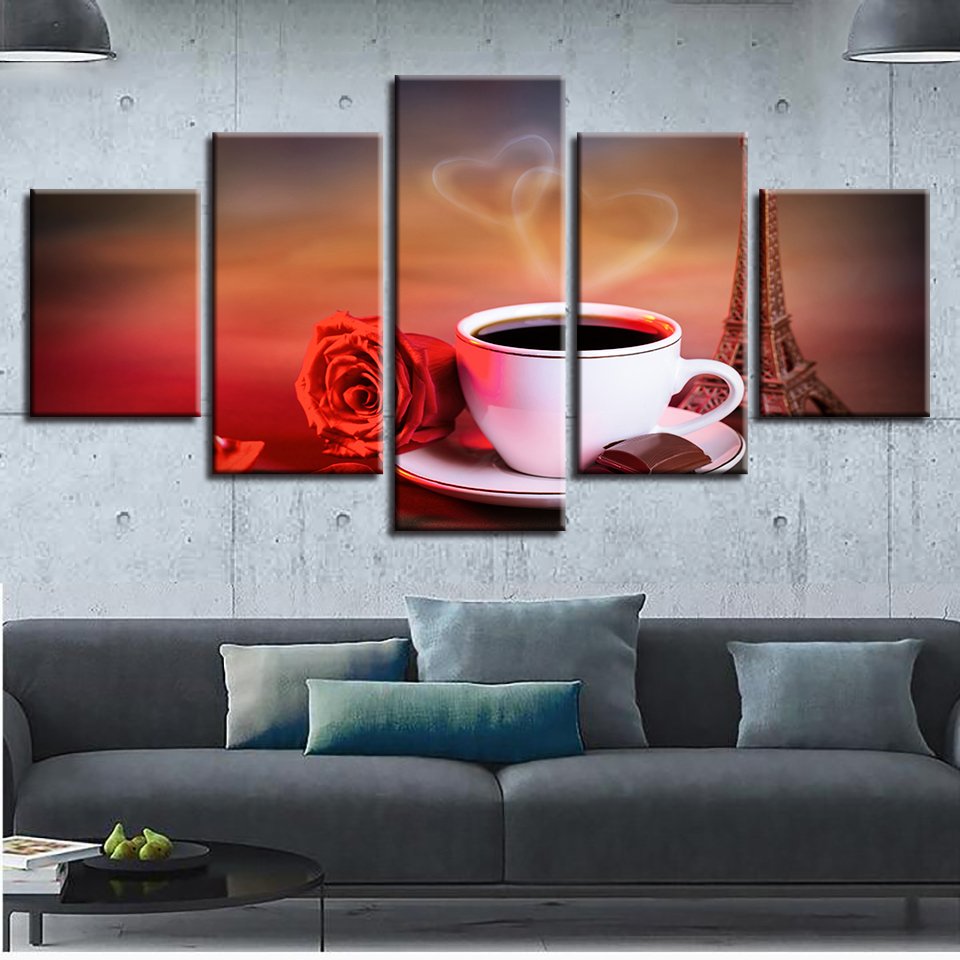 Wall Art Poster HD Prints Modular 5 Pcs Coffee And Red Rose Pictures Canvas Painting Home Decoration Living Room Bedroom Frame in Painting Calligraphy from Home Garden