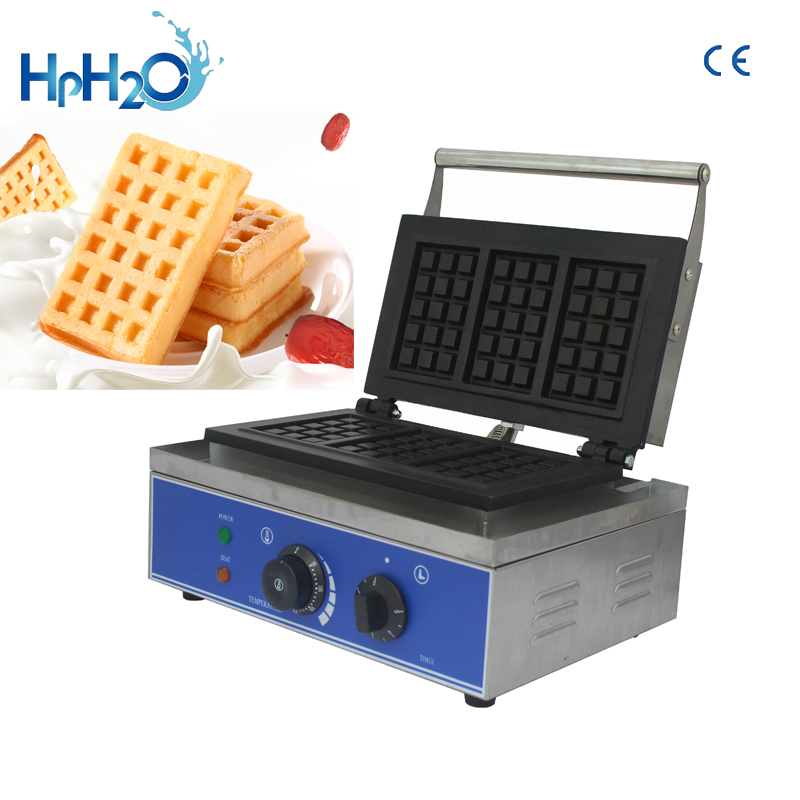 CE approved 110V220V commercial  electric 3pcs Hot plate Waffle Making Machine Square Waffle maker machine