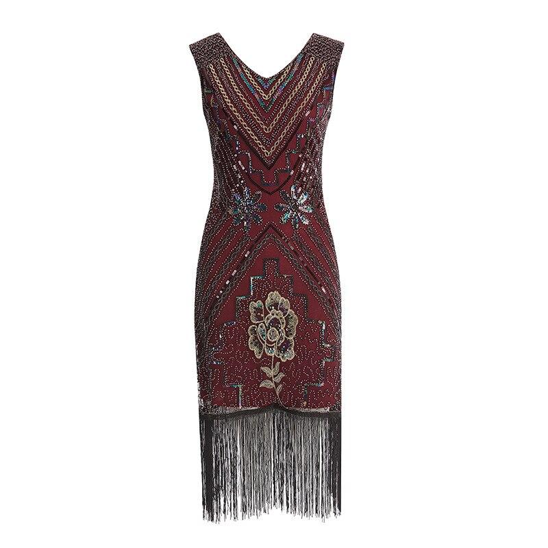 Femmes Parti Gatsby golden Fringe Tassel Cou Latine Perlé S Aileron De Danse Paillettes V Black red Robes Great Robe 1920 wAqa7pE