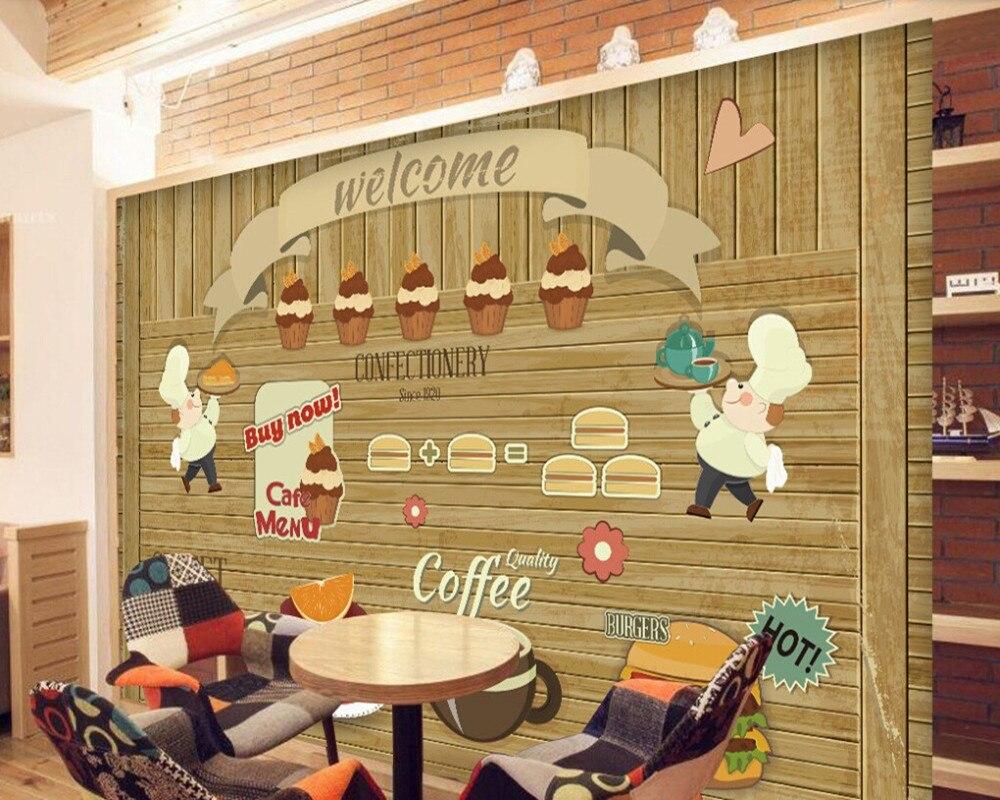 Kayu Kustom Wallpaper Kopi Kue Kayu Dinding 3D Kartun Mural