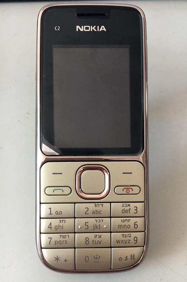 Nokia C2 C2-01 Золотой разблокированный мобильный телефон GSM восстановленные мобильные телефоны и русский иврит арабский клавиатура - Цвет: Hebrew keyboard