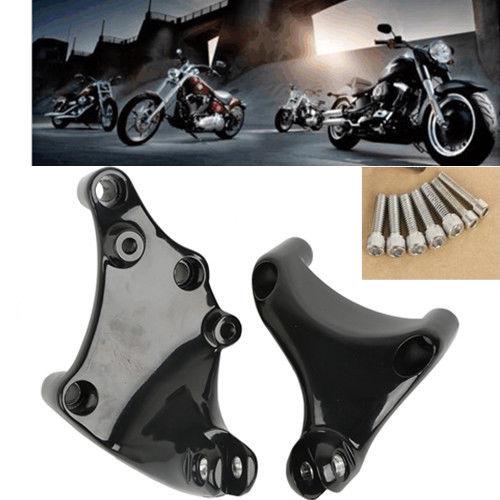 Black Passenger Footpeg Mount Brackets For Harley XL883 1200 Sportster 2014 2017